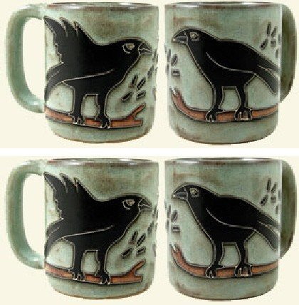Set Of Four (4) MARA STONEWARE COLLECTION - 16 Oz. Coffee Cups Collectible Mugs With Countertop Stackable Mug Post - Black Raven Bird