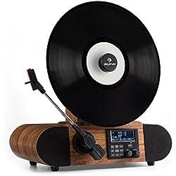 Auna Verticalo Dab • Platine Vinyle • Platine Verticale • Design rétro • Transmission par Courroie • 33, 45, 78 T/Min • Port USB Compatible MP3 • Sortie Casque • Bois