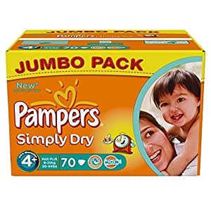 Pampers Simply Dry Couches Maxi + 9-20 kg Taille 4 Format Jumbopack x 70 Lot de 2