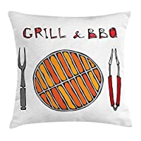 VTXWL BBQ Party Throw Pillow Cushion Cover, Grill and BBQ Illustration with Warm Colors Hand Drawn Appliances, Decorative Square Accent Pillow Case, 18 X 18 inches, Grey Vermilion and Orange