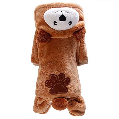 KariNao Hundebekleidung Haustier Pyjamas Welpe Weicher Overall Hundemantel Hoodie Trainingsanzug Yorkie Kleidung(Kaffee, M)