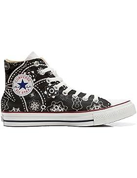 Converse All Star zapatos personalizadas Unisex (Producto Artesano) Black Paisley