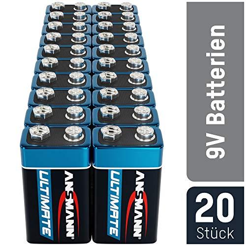 ANSMANN 9V Block Batterien 20 Stück - Alkaline 9 Volt Blockbatterie ideal für Bewegungsmelder,...