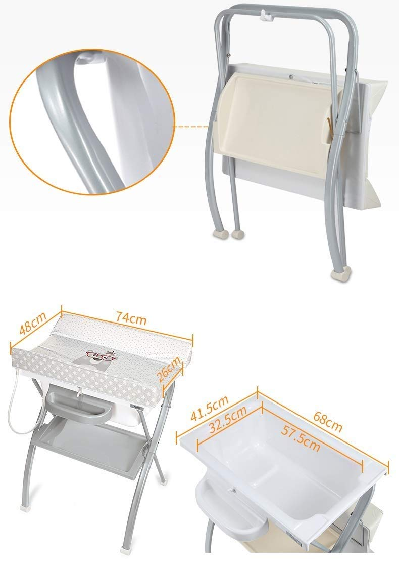 Changing Table Baby Changing Table Portable Folding Diaper Station Nursery Organizer for Infant Save Space Cross Leg Style (Color : White) Changing Table ●Size and Safe and Stable- L74 x W48 x H100cm,Suitable for babies weighing less than 25kg,With seat belt,Changing pad has a restraining strap for added safety and is made of easy to clean, soft ●2-in-1 design- Baby changing table can be used as baby massaging table as well. It is designed at the proper height of parent to prevent mom's back aches and pains from kneeling or bending when changing diapers to babies. ●Premium materials - Using high-quality materials for our 2 in 1 infant changing table,Reinforced metal,it is durable and stable for long time daily use,And easy to clean and maintain. 2