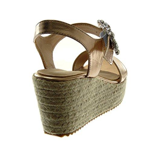 Zapatos De Angkorly Sandalias De Moda Alpargatas Cuñas Abiertas Mujer Joyería Cuerda Trenzada Plataforma De Tacón De Cuña 7.5 Cm Champagne