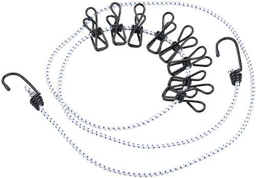 Flexible Wäscheleine mit 8 beschichteten Klammern, 170-210cm