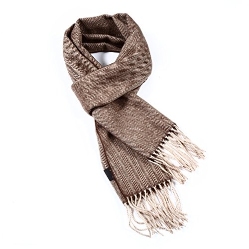 A.WAVE Softer than Cashmere Wool Touch Tassel Ends Plaid Check Solid Scarf (Brown) Check Cashmere