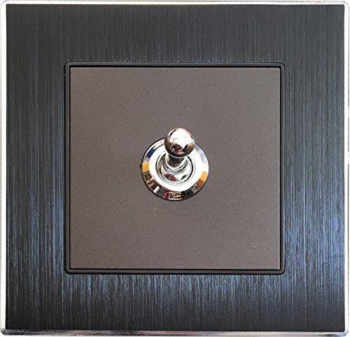 Wallpad schwarz aus gebürstetem Aluminium Panel Schalter Steckdose - Toggle 1 Gang 1 Way -