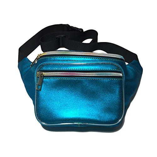 Flada holográfica Bumbag 2 capa corriendo Fanny Pack impermeable cintura bolsa perfecta para senderismo y festivales azul
