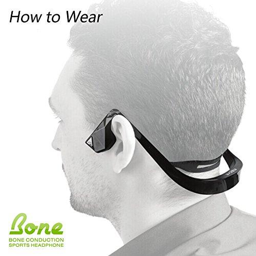 Kopfhörer Bluetooth 4.1 KSCAT Bone Conduction Ohrhörer Headphone Nice2 Sport Knochenleitung Knochenschall Wireless drahtlos Telefontaste Schwarz - 5