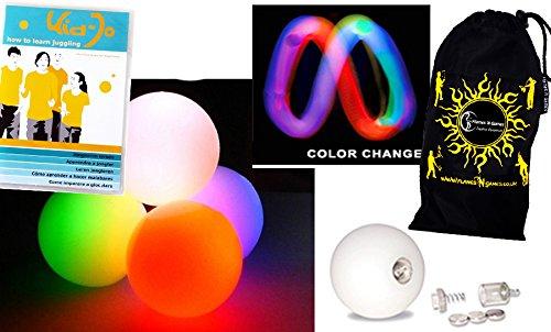 Preisvergleich Produktbild LED Jonglierbälle 3er Set (Langsam Rainbow-Effekt) + KID-Jo DVD Jonglieren lernen (in Deutsch) - Profi Glow Leuchtbälle mit LED-Licht und Batterien +Tasche. Set Ideal Für Anfänger Wie Auch Für Profis.