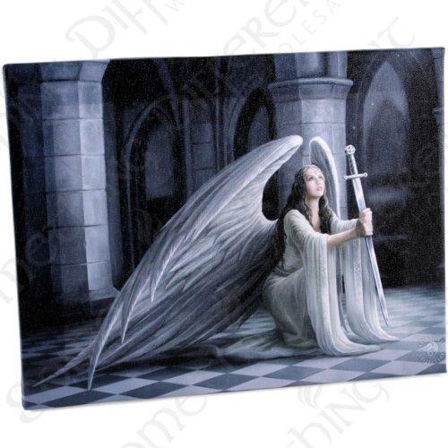 Stampa su tela, motivo: la Benedizione, angelo gotico con spada, da parete