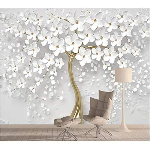 Fototapete Riesiger Baum Der Weißen Blumen des Effektes 3D Für Wohnzimmermoderne Wanddeko (W) 250X(H) 175Cm Silk Cloth ()