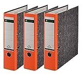 Leitz Qualitäts-Ordner, Wolkenmarmor-Papier, A4, 3er-Pack (Breit, Orange)