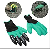 #2: MosQuick® -1 Pair Rubber Garden Gloves for Digging , Planting , Garden work with 4 ABS plastic claws Green & Black Color