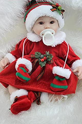 Nicery Reborn Baby Doll Soft Simulation Silicone Vinyl 18inch 45cm Magnetic Mouth Lifelike Boy Girl Toy Santa Baby Eyes