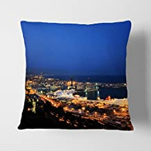 "Big Box Art ""Barcelona España Skyline"" gris con cojín manta almohada, multicolor, 43x 43cm)"