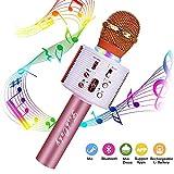 Micrófono Karaoke Bluetooth, FISHOAKY Microfono Inalámbrico Altavoces, Portátil Karaoke para Niños Cantar, Función de Eco, Compatible con Android/iOS o Teléfono Inteligente