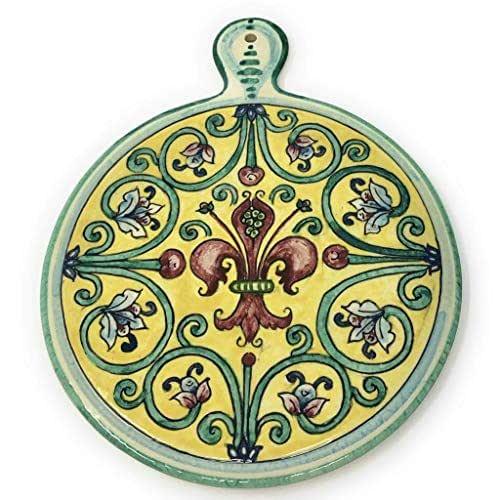 CERAMICHE D'ARTE PARRINI- Ceramica italiana artistica, sottopentola decorazione giglio, dipinto a mano, made in ITALY Toscana