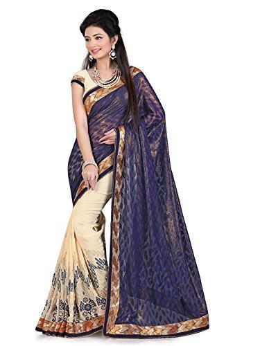 Kanchnar Women's Viscose Saree With Blouse Piece (109S1001_Blue)