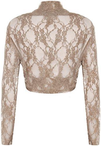 WearAll - Grande taille boléro gilet top court en dentelle avec des manches longues - Hauts - Femmes - Tailles 42 à 46 Moka