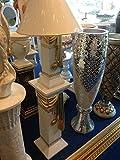 Set Säule+Lampe Medusa Lampe mit Goldschal Stehlampe Vase Stehleuchte Antik Style 1038 + 6890 k 141 Mäander Lampe Stehlampe Vasenlampe Schirmlampe Barock Stehleuchte mit Styl Griechisch ART