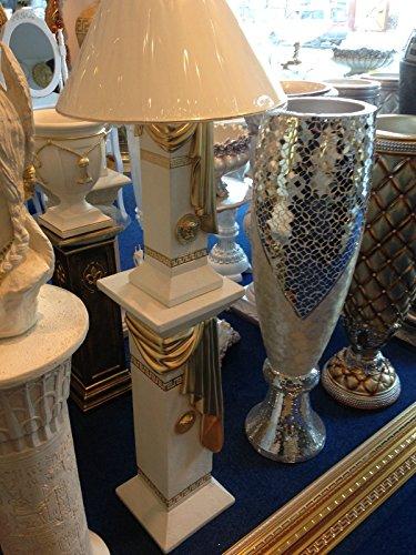Set Säule+Lampe Medusa Lampe mit Goldschal Stehlampe Vase Stehleuchte Antik Style 1038 + 6890 k 141 Mäander Lampe Stehlampe Vasenlampe Schirmlampe Barock Stehleuchte mit Styl Griechisch ART (Griechische Lampe)