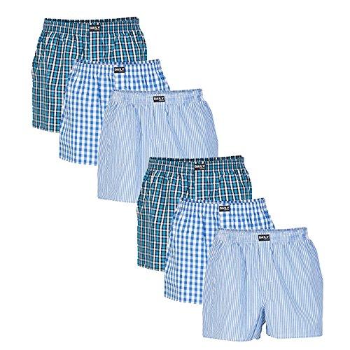 Daily Underwear Herren Webboxer Boxershorts 6er Pack, Größe:XXXL;Farbe:Farbkombi 99/3