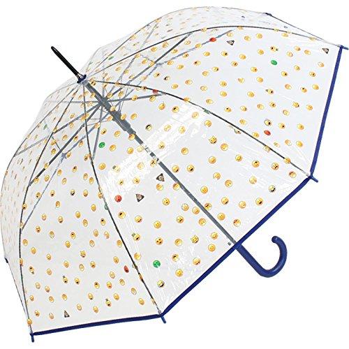 Emoticon Regenschirm durchsichtig transparent mit Automatik smile bedruckt - blau