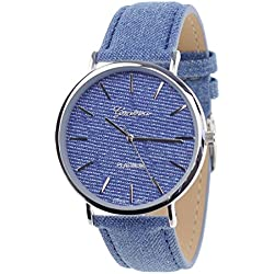 Unisex Geneva Japanese Movement Silver-Tone Denim Covered Faux Leather Strap Watch