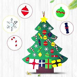 Chidi Toy 3.2ft Fieltro Árbol de Navidad, DIY Decoración del árbol de Navidad con 30pcs Ornamentos Desmontables, Colgante de Pared Decoración niños