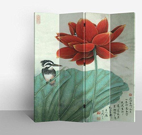 Fine Asianliving – Paravent - Raumteiler – Sichtschutz - Trennwand –Faltbar - Spanische Wand – Leinwand - Artprint – Canvas – Doppelseitig – Bedruckte Leinwand - 4 Fach (180 x 160 cm) - 171