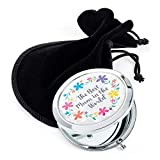"""White Marble Effect Compact Mirror""""Best Mum In The World"""" Black Gift Bag"""