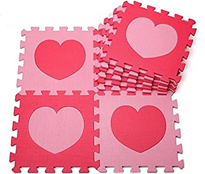 Gearmax® 30x30 cm playmat foam puzzle mat for children Soft Puzzle Mats Rug EVA Foam Mat Flooring Mat (10 pcs, pink and red heart)