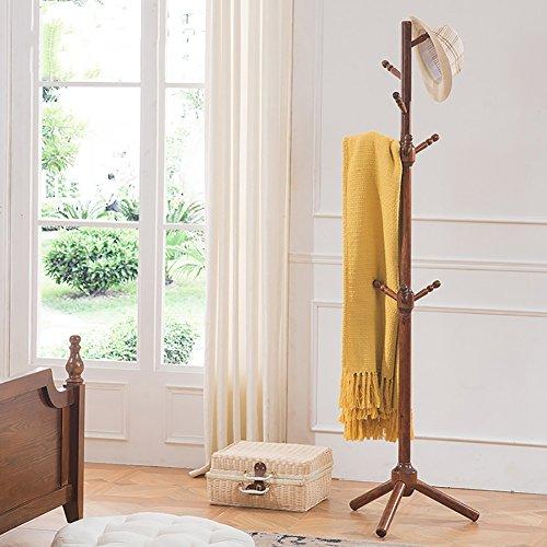 LFF- Stand-Garderobe All-Holz American Country Black Walnut Schlafzimmer Wohnzimmer Small 9 Haken Aufhänger Vertical Hat Rack -