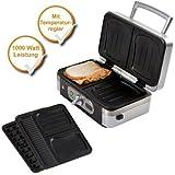 3 in 1 Professionale Tostiera Waffel + Sandwich-Maker + Panini grill con Dischi Rimovibili, Potenza 1000 Watt