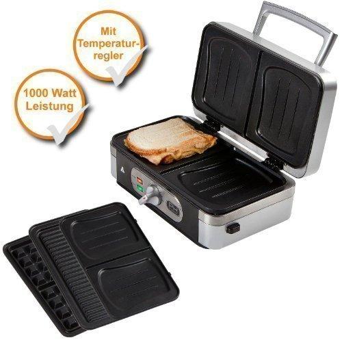 Profi 3en1 Gofrera Profesional + Sandwich + Panini Parrillera con Placas Desmontables, 1000 Watt Fuerte