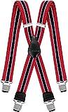 Hosenträger für Herren breit extra starken 4 cm mit 4er Clips X-Form lange für Männer und Damen Hose alle Farben (Rot Weiß Dunkelblau)
