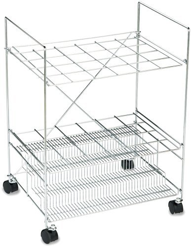Safco 3089 Mobile Chrome Wire Roll File, for 24 3-1/2x3-1/8 Tubes, 22-1/2wx14-5/8dx32-1/4h by Safco (Mobile Chrome)