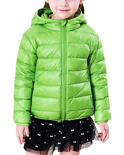 ZhuiKun Kinder Daunenjacke Winterjacke Jungen Mädchen Daunenmantel Daunen Jacke mit Kapuze Grün 110