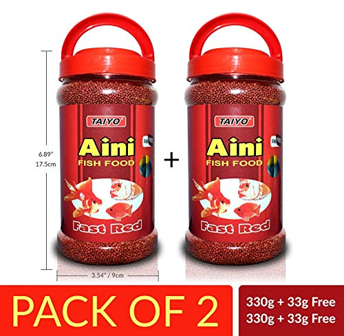 Taiyo Aini Fast Red Fish Food 330g + 33g Free (Pack of 2) - Suitable Food for All Tropical Fishes with Powerful Color Enhancing Formula. Best Fish Food!! + Free Fish Tank Decor(1 Piece)