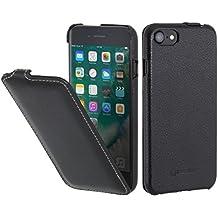 """StilGut UltraSlim Case Funda de piel auténtica, Flip Case para su iPhone 7 (4,7"""") Cover extremadamente delgada con abertura vertical de cuero genuino, Negro"""