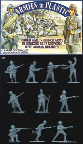 1/32 Armies in Plastic 5403 WKI Frankreich Armee in blauer Uniform mit Adrian Helmen -