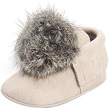 Zapatos De Bebé Botas De Bolas Borlas de bebé recién nacido Patucos niñas Primeros pasos Zapatos calientes Prewalker Calzado de cuero para niñas zapatillas Sneakers Amlaiworld (Beige, Tamaño:3-6Mes)