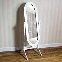 Home Discount Nishano Cheval Mirror Free Standing Full Length Floor Standing Dressing Mirror Adjustable Bedroom Furniture Wooden, White