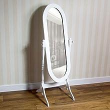 Vida Designs Nishano Cheval Mirror Free Standing Full Length Floor Standing Dressing Mirror Adjustable Bedroom Furniture Wooden, White