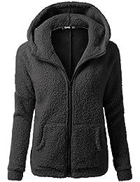 d4e0deaeefd9 Longra Grande Taille Manteau à Capuche Femme Hiver Chaud Épais Zipper  Blousons avec Poche Vêtements d
