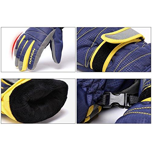 Rmine Ski Handschuhe Winddicht Regendicht Thermohandschuhe für Herren Damen Junge Kinder (Gelb, S (5-8 jahre)) - 3