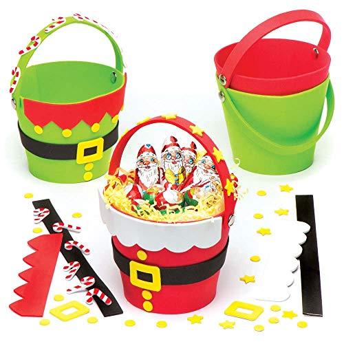 Baker ross kit secchielli per sorpresine di babbo natale ed elfo (confezione da 4) per creazioni fai da te e decorazioni natalizie per bambini