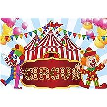 Cassisy 3x2m Vinilo Circo Telon de Fondo Rayas Blancas Rojas Carpas de Circo Payaso Pared Azul
